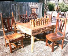 Hill Country Medium Chess Table & 4 Husker Chair Set