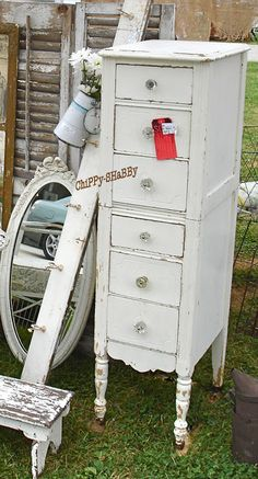 BeSt-Ever, Naturally ChiPPy White, Stacked Cabinet on wheels!