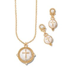 """Goldtone round pendant necklace with goldtone cross on faux mother of pearl. Includes matching earrings.· Necklace: 16 1/2"""" L with Lobster Claw clasp· Extender: 3 1/2"""" L with spring ring clasp· Pendant: 1 1/8"""" L x 1"""" W· Earrings: Pierced, 1"""" L x 3/8"""" W with Post and Bullet clutch· Imported  https://lmangat.avonrepresentative.com/"""