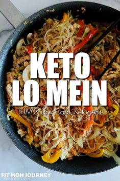 Making Keto Lo Mein is simple! With some chopping, frying, and tossing, you'll have a veggie and protein-packed lo mein that is ketogenic and a takeout copycat right in your kitchen.  #ketorecipes #eatfatlosefat #ketolunches