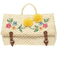 Asos Straw Satchel With Sunflowers ($42) ❤ liked on Polyvore