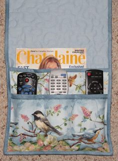 Quilted Armchair Caddy Bedside Caddy Chickadee and by MiniMade