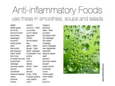 Anti-inflammatory Foods!  Nearly all are easily accessible and some are down right tasty!  I'm so happy to live in a place where health and nature are largely focused on.