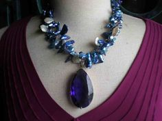 upcycled reposed necklace Mother+Of+Pearl++Freshwater++Pearls++Amethyst+by+fripperyfrosting,+$113.00