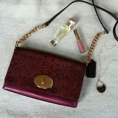 Coach berry colored snakeskin print purse ☆☆HP☆☆ Host pick 3/27. Cross body strap, gold tone chain detail, exterior open pocket, interior open pocket.  The top flips up to open and there is a twist lock closure.  The main body of the purse is a berry/plum color and the snakeskin print flap and strap are a deeper burgundy/wine color.   No trades or PP.  Save even more with a bundle discount! Coach Bags