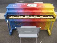 multicolor rainbow piano