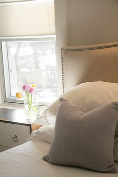 DIY headboard, linen head board. Kate this is what I want to do!!!! @Kate Mazur Mazur Ercole