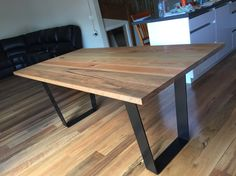 Spotted gum dining table Timber Dining Table, Slab Table, Drum Table, Square Dining Tables, Dining Set, Wine Barrel Table, Stained Table, Oak Bench, Hardwood Furniture