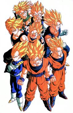 blonde hair dougi dragon ball dragonball z father and son fusion gotenks looking at viewer male focus multiple boys muscle official art pose scan serious smile son gokuu son goten spiked hair super saiyan sword traditional media trunks (dragon ball) ve Dragon Ball Z, Manga Anime, Anime Art, Z Wallpaper, Galaxy Wallpaper, Dope Cartoons, Popular Anime, Cartoon Shows, Father And Son