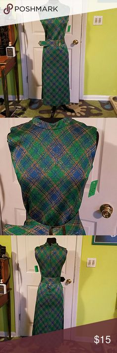1970s Vintage Blue, Gold Plaid Gown Sheath style, comes with belt. Can be belted or worn as a sheath. Slits on both sides. The gold thread is sparkly.  Belt is marked size 12, but it is vintage - closer to size 2-4. Vintage Dresses Maxi
