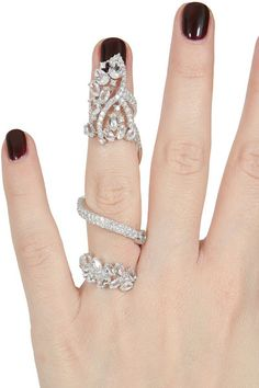 Elise Dray White Gold White Diamonds and White Topaz Articulated Jaïpur Ring in Silver (white) - Lyst