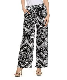 Love this fancy print, cute palazzo pants, could be a little longer.