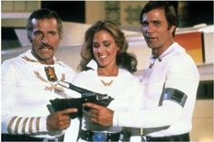 Buck Rogers meets Flash Gordon in an episode of Buck Rogers in the 25th Century (1980)  Buster Crabbe, Gil Gerard & Erin Gray as Wilma Deering