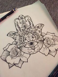 Hand of hamsa tattoo design