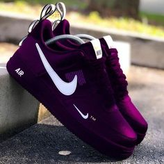 Purple and black colour nike air sneakers with green nike logo Jordan Shoes Girls, Girls Shoes, Cute Sneakers, Sneakers Nike, Air Jordan Sneakers, Girls Sneakers, Souliers Nike, Nike Shoes Air Force, Hype Shoes