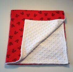 Mickey Mouse baby blanket/bib set by CarolinaCreationsbyM on Etsy, $25.00