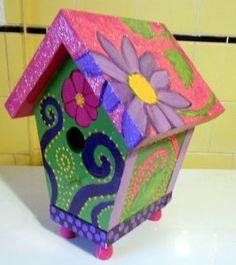 FUNKY Purple Pink Green Hand Painted Birdhouse Janice by radocha, $25.00