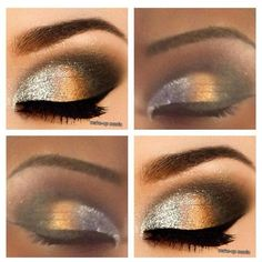 Shiny Gold Eyeshadow ❤ liked on Polyvore featuring beauty products, glossy eye makeup, shiny eyeshadow and glossy eyeshadow