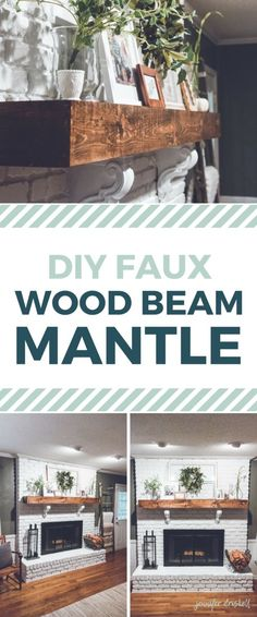 DIY Faux Wood Beam Mantle | Farmhouse-style white brick fireplace with old window, wreath, corbels, beautiful greenery, and natural wood
