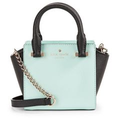 Kate Spade New York Mini Hayden Leather Crossbody ($228) ❤ liked on Polyvore featuring bags, handbags, shoulder bags, leather cross body purse, leather crossbody, green leather handbag, leather purse and mini crossbody