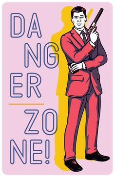 Archer illustration using Moonwalk typeface
