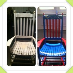 Before and after of my superhero classroom teacher chair.