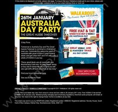 Company:  Walkabout Bars   Subject:  Celebrate Australia Day 26th January with Awesome Drinks Deals              INBOXVISION providing email design ideas and email marketing intelligence.     http://www.inboxvision.com/blog  #EmailMarketing #DigitalMarketing #EmailDesign #EmailTemplate #InboxVision #Emailideas #NewsletterIdeas