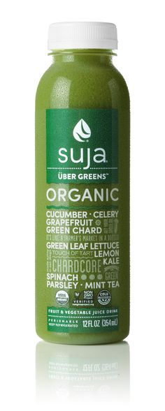Packed with nutrients, not sugar! With just 6 grams of sugar and 50 calories per bottle, Suja Uber Greens will quickly become your go-to green juice. A cold-pressed combination of nutrient-dense leafy greens, tangy citrus and revitalizing mint tea made with 100% organic ingredients you can trust. Go ahead, get obsessed. Find Uber Greens at a store near you!