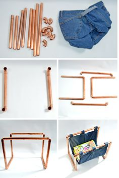 DIY copper denim magazine rack.  Make your own magazine rack from an old pair of jeans and some copper piping.  A truly unique upcycled home accessory !