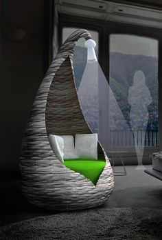 """By Tompson Tompson  """"Cocoon"""" armchair features only an open front that can be laced up to increase privacy and its granulated structure gives flexibility and at the same time hardness"""