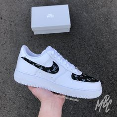 · White Nike with LV print over swoosh & toe box. - Paint is crack & water resistant - Hand Painted - Shipped Class Tracked Colourways available: ClassicMulticolour Red White Black Shoes are… Nike Air Force, Nike Shoes Air Force, Sneakers Fashion, Nike Sneakers, Sneakers For Girls, Fashion Outfits, White Nike Shoes, Black Shoes, Kicks Shoes