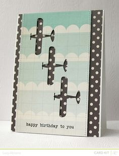Studio Calico October Card Kit - Antiquary - Birthday Planes by LucyAbrams - Cards and Paper Crafts at Splitcoaststampers Boy Cards, Kids Cards, Cute Cards, Birthday Cards For Men, Studio Calico, Masculine Cards, Card Kit, Paper Cards, Creative Cards