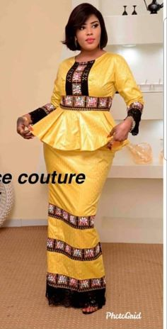 African Party Dresses, African Fashion Skirts, African Wedding Dress, African Attire, African Wear, Senegalese Styles, Trends, Modest Dresses, Peplum Dress