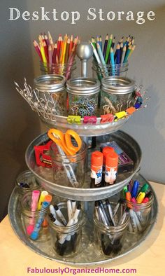 desktop storage | Fabulously Organized Home       I like this for frequently used craft supplies. Maybe I could DIY the tray too to save more $$