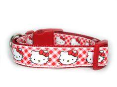 Hello Kitty Trelis Dog Collar 1 inch wide by Apolloscloset on Etsy, $12.00