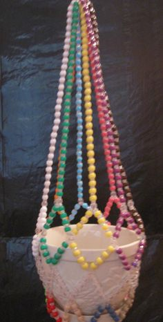 [sell.com] Plant Hanger with Mult. Colored Pony Beads