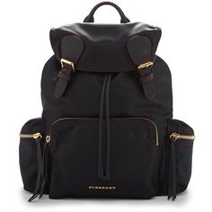 Burberry Rucksack in Black and Parade Red Technical Nylon and Leather Red Backpack, Black Leather Backpack, Backpack Bags, Fashion Backpack, Red Leather, Leather Bag, Drawstring Backpack, Lightweight Luggage, Lightweight Backpack