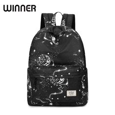 Fashion Women Backpack School Bag Black Stars Sky Space Pattern Printing  Waterproof Bagpack Large Capacity Bookbag f389dff207