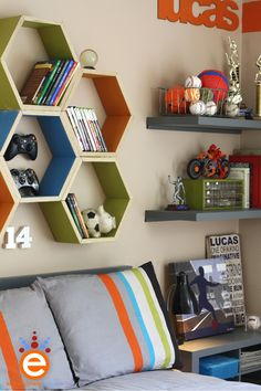 crafted the hexagon shelves out of a new pre-cut lumber Lowe's has, it's a super high quality plywood trim with a birch veneer.