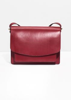 & Other Stories image 1 of Saddle Stitch Leather Shoulder Bag in Plum