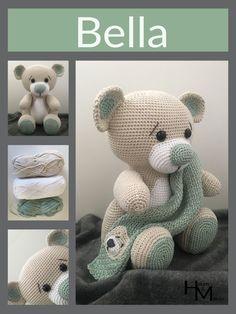 [Haakpatroon] Bella – Haken en Maken Crochet Animal Patterns, Crochet Patterns Amigurumi, Crochet Animals, Crochet Toys, Crochet Baby, Knit Crochet, Beren, Baby Rattle, Stuffed Toys Patterns