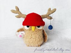 Owl in the Reindeer Hat and little Mouse, crochet owl, owl decor, MADE TO ORDER