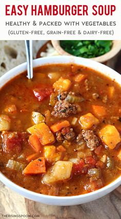 Craving a cozy soup that's hearty, healthy & budget-friendly? Fix a batch of this easy one-pot hamburger vegetable soup on the stove. It's packed with ground beef, carrots, celery, cabbage, sweet bell pepper, fire-roasted tomatoes & potatoes in a rich, savory tomato & beef broth. This is one of those budget-friendly soups that everyone loves and it also freezes well, which makes it great for meal prep. (gluten-free, grain-free & dairy-free) Chili Recipes, Real Food Recipes, Soup Recipes, Dinner Recipes, Simple Recipes, Cooker Recipes, Yummy Recipes, Healthy Recipes, Hamburger Vegetable Soup