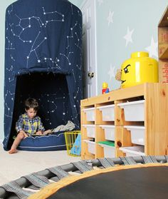 We helped Julia of Tag&Tibby create a relaxing sensory friendly playroom for her two children that utilizes organization and an open space for play. Playroom Organization, Playroom Ideas, Sensory Rooms, Playroom Furniture, Comfortable Pillows, Organizer, Boy Room, Kids Bedroom, Bedroom Decor