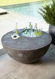 The Phillips Collection Outdoor Beverage Table Concrete Beton Design The Phillips Collection Outdoor Beverage Table. Diy Garden Furniture, Concrete Furniture, Furniture Projects, Furniture Legs, Furniture Design, Fireplace Furniture, Furniture Buyers, Pool Furniture, Automotive Furniture
