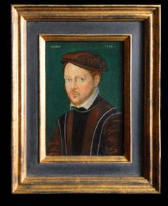 """Another small portrait this time from the 16th Century. The frame chosen here is a period reproduction Italian 'casseta' type frame with luxurious fig coloured panel and gilt edging. approx outer frame size 12"""" x 8"""""""