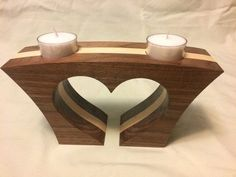 Collection of 1600 Woodworking Plans - heart shaped tea light candle holder Get A Lifetime Of Project Ideas and Inspiration! Wood Shop Projects, Small Wood Projects, Wooden Candle Holders, Woodworking Projects, Woodworking Plans, Woodworking Furniture, Wooden Gifts, Wooden Art, Wood Creations