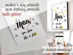 mothers day printable - mom birthday - happy mothers day - frame wall decor - greeteng card - diy mothers day - digital art - download de DesignloverShop en Etsy