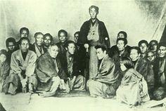 Japanese antique photograph. Matsudaira Katamori (1836-1893).   Katamori and him vassals. Edo era.