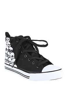 <p>Black lace-up canvas hi-top sneakers with stacked skulls design and white outsoles. True to size.</p>  <ul> 	<li>Man-made materials </li> 	<li>Imported </li> 	<li>Listed in men's sizes </li> </ul>
